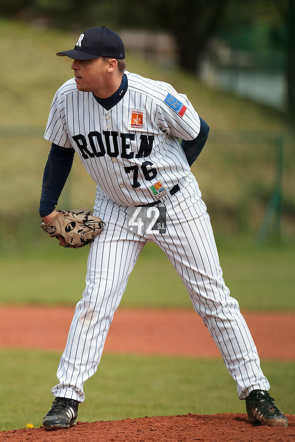 04 June 2010: Starting pitcher Giovanni Ouin of Rouen pitches against Heidenheim Heidekopfe during the 2010 Baseball European Cup match won  20-7 by Heidenheim Heidekopfe over the Rouen Huskies, at the Kravi Hora ballpark, in Brno, Czech Republic.