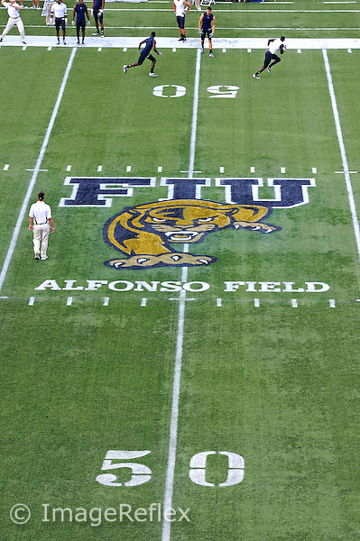 17 September 2011:  The logo at midfield prior to the game.  FIU notched a new attendance record of 20,205 at the game as the FIU Golden Panthers defeated the University of Central Florida Golden Knights, 17-10, at FIU Stadium in Miami, Florida.