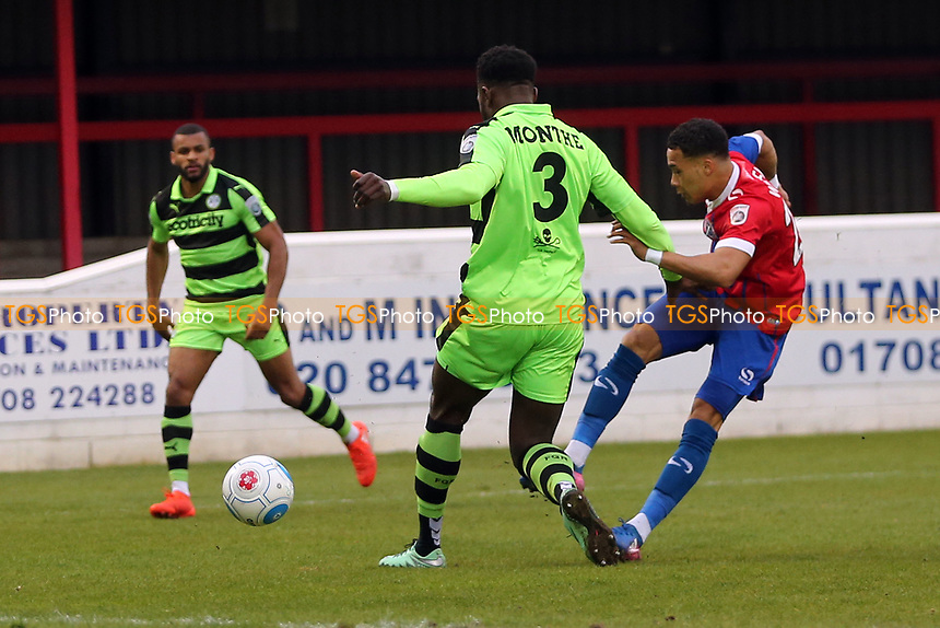 Corey Whitely of Dagenham and Redbridge and Emmanuel Monthe of Forest Green Rovers during Dagenham & Redbridge vs Forest Green Rovers, Vanarama National League Play-Off Semi-Final Football at the Chigwell Construction Stadium on 4th May 2017