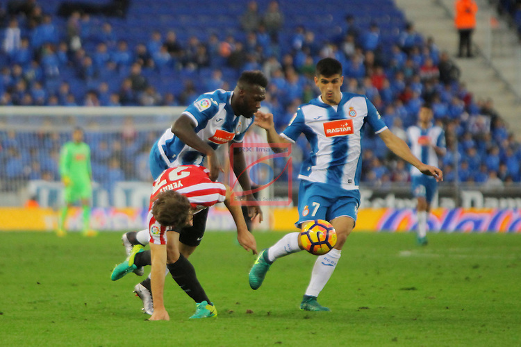 League Santander 2016/2017. Game: 11.<br /> RCD Espanyol vs Athletic Club: 0-0.<br /> Yeray Alvarez, Felipe Caicedo &amp; Gerard Moreno.