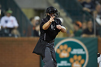 Home plate umpire Jennifer Pawol makes a strike call during the South Atlantic League game between the Hickory Crawdads and the Ocelotes de Greensboro at First National Bank Field on June 11, 2019 in Greensboro, North Carolina. The Crawdads defeated the Ocelotes 2-1. (Brian Westerholt/Four Seam Images)