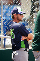 Vermont Lake Monsters manager Aaron Nieckula (26) in the dugout during a game against the Auburn Doubledays on July 13, 2016 at Falcon Park in Auburn, New York.  Auburn defeated Vermont 8-4.  (Mike Janes/Four Seam Images)