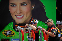 Danica Patrick's crew at work outside the hauler