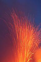Pu'u O'o vent Spattering lava and the pre dawn sky, Hawaii Volcanoes National Park, Big Island, Hawaii, USA, Pacific Ocean