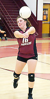 Photo by Randy Moll<br /> Tori Vetor, Gentry senior, sets up a serve during play against Gravette at Gentry High School on Tuesday, Sept. 22, 2015.