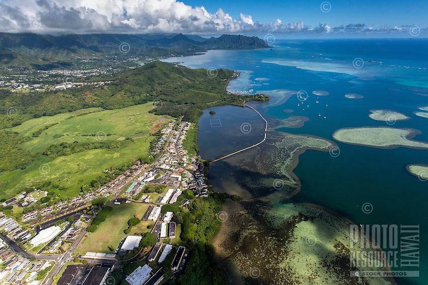 An aerial view of He'eia Fishpond, Kane'ohe Bay, Windward O'ahu.