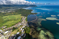 An aerial view of He'eia Fishpond, Kane'ohe Bay, Windward O'ahu.