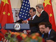 September 19, 2013  (Washington, DC)  Secretary of State John Kerry and Chinese Foreign Minister Wang Yi hold a bilateral meeting at the Department of State.  (Photo by Don Baxter/Media Images International)