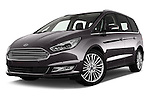 Stock pictures of low aggressive front three quarter view of 2016 Ford Galaxy Titanium 5 Door Minivan Low Aggressive