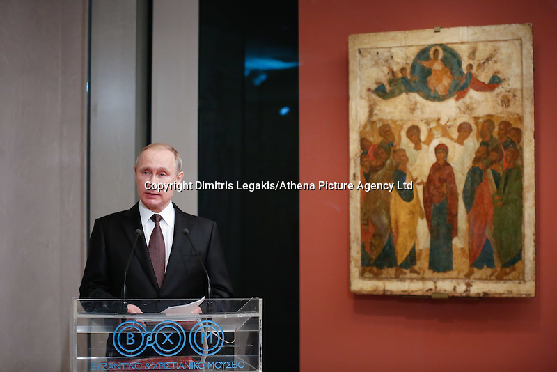 Pictured: Vladimir Putin Friday 27 May 2016<br /> Re: Russian President Vladimir Putin with Greek Prime Minister Alexis Tsipras at the exhibition opening 'Ascension of the Christ' at the Byzantine Museum, Athens, Greece