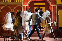 """Dress rehearsal for the Occidental College Theater Department's production of """"Big Love"""" by Charles Mee at Oxy's Keck Theater, April 18, 2012. The production runs through May 19. (Photo by Marc Campos, Occidental College Staff Photographer)"""