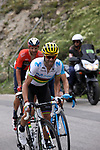 World Champion Alejandro Valverde (ESP) Movistar Team climbs the Col d'Iseran during Stage 19 of the 2019 Tour de France originally running 126.5km from Saint-Jean-de-Maurienne to Tignes but cut short to 88.5 km, France. 26th July 2019.<br /> Picture: John Pierce/PhotoSport Int | Cyclefile<br /> All photos usage must carry mandatory copyright credit (© Cyclefile | John Pierce/PhotoSport Int)