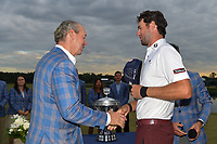 Jim Crane, CEO and owner of the tournament congratulates Lanto Griffin (USA) after he won the 2019 Houston Open, Golf Club of Houston, Houston, Texas, USA. 10/13/2019.<br /> Picture Ken Murray / Golffile.ie<br /> <br /> All photo usage must carry mandatory copyright credit (© Golffile | Ken Murray)