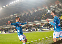 Fabian Ruiz of Napoli with Dries Mertens of Napoli celebrates after scoring during the  italian serie a soccer match,Atalanta - SSC Napoli at  the Atleti azure d'italia   stadium in Bergamo Italy , December 03, 2018
