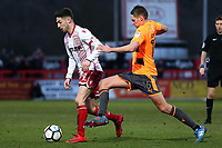 Tom Pett of Stevenage and David Edwards of Reading during Stevenage vs Reading, Emirates FA Cup Football at the Lamex Stadium on 6th January 2018