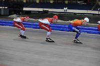 SCHAATSEN: HEERENVEEN: 17-06-2014, IJsstadion Thialf, Zomerijs training, Team Corendon, Sjoerd de Vries, Rens Rotteveel, Marije Joling, ©foto Martin de Jong