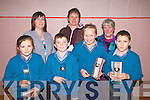 Scoil Mhichi?l, Baile an Sceilg were the winners of the U11 section of the Cahersiveen Credit Union's Primary Schools Quiz, which took place in Colaiste na Sceilge on Sunday night, pictured front l-r; Aoibhe Ni? Mhurchu?, Alan Guga?n, Muireann Nic Aoha?in, Sea?n O? Scanla?in, back l-r;Elma Sugrue(Manager Cahersiveen C.U.), Laoise Nic Aoga?in(Principal Scoil Mhichi?l) & Roz Prendergast(Chairperson Cahersiveen C.U.).  They will compete in the Chapter 23 final on 6th March...