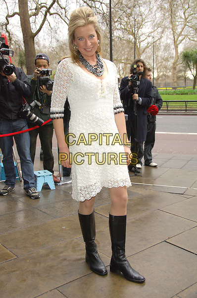 KATIE HOPKINS.TRIC Awards 2008, held in the .Great Room at Grosvenor House, .Park Lane, London, England, .March 11th 2008   .full length white lace crochet dress black flat boots.CAP/CAS.?Bob Cass/Capital Pictures