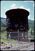 Abandoned RGS water tank at Rico.  It has been fenced off to protect it from vandalism.<br /> RGS  Rico, CO  ca. 1976