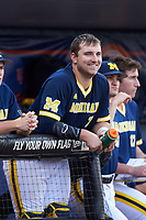 Michigan Wolverines catcher Harrison Wenson (7) in the dugout during the second game of a doubleheader against the Canisius College Golden Griffins on February 20, 2016 at Tradition Field in St. Lucie, Florida.  Michigan defeated Canisius 3-0.  (Mike Janes/Four Seam Images)
