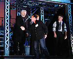 Curtain Call Veterans of the movie join up with the current cast of The Newsies at The Paper Mill Playhouse on October 2, 2010 in Millburn, New Jersey with current cast members and cast members of the film. It was a day of events to all devoted fans of Newsies - Radio Disney at 4 pm, executive reception for members of the original cast of Newsies (the movie) followed by a talkback, Q&A in the theater - all this followed by the evening performance of Newsies with the Curtain Call, old cast meets new cast and a cast photo of all. (Photo by Sue Coflin/Max Photos)