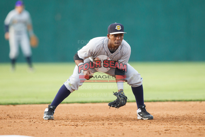 Charleston RiverDogs third baseman Miguel Andujar (5) on defense against the Hickory Crawdads at L.P. Frans Stadium on June 2, 2014 in Hickory, North Carolina.  The Crawdads defeated the RiverDogs 9-6.  (Brian Westerholt/Four Seam Images)