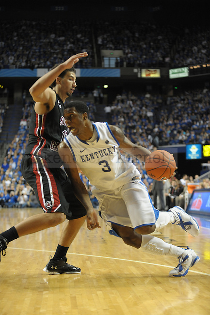 Kentucky's Terrence Jones (3) drives by a defender during the second half of the University of Kentucky Mens Basketball game against South Carolina at Rupp Arena in Lexington, Ky., on 1/7/12. UK won the game 79-64. Photo by Mike Weaver | Staff