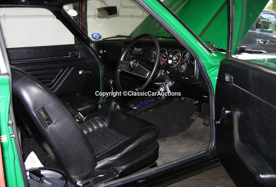 BNPS.co.uk (01202)558833<br /> Pic: ClassicCarAuctions/BNPS<br /> <br /> Mint interior....<br /> <br /> £60,000 for a 1974 Ford Capri anyone??<br /> <br /> A rare time warp Ford Capri that is thought to be one of just 50 of its kind left in the UK has emerged for sale for a world-record £60,000.<br /> <br /> The highly desirable RS3100 dates back to 1974 and was built as a road-legal version of Ford's entry into European Touring Car racing.<br /> <br /> Only a handful were ever built in order to meet racing regulations and they now rank among the rarest of all 'Fast Fords'.
