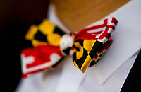 BALTIMORE, MD - MAY 19: A fan sports a Maryland State flag-themed bow tie  on Black-Eyed Susan Day at Pimlico Race Course on May 19, 2017 in Baltimore, Maryland.(Photo by Scott Serio/Eclipse Sportswire/Getty Images)