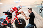 European Time Trial Champion Victor Campenaerts (BEL) is the new UCI Hour Record holder after covering 55,089 km, beating Bradley Wiggins record by 563 metres. Aguascalientes, Mexico. 16th April 2019.<br /> Picture: Ridley Bikes | Cyclefile<br /> <br /> All photos usage must carry mandatory copyright credit (&copy; Cyclefile | Ridley Bikes)