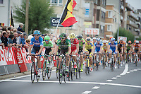 Dan Craven (NAM/Europcar) &amp; Jack Bauer (NZL/Garmin-Sharp) lead the tempo in a 2nd (slower) peloton into the last local lap<br /> <br /> stage 3<br /> Euro Metropole Tour 2014 (former Franco-Belge)