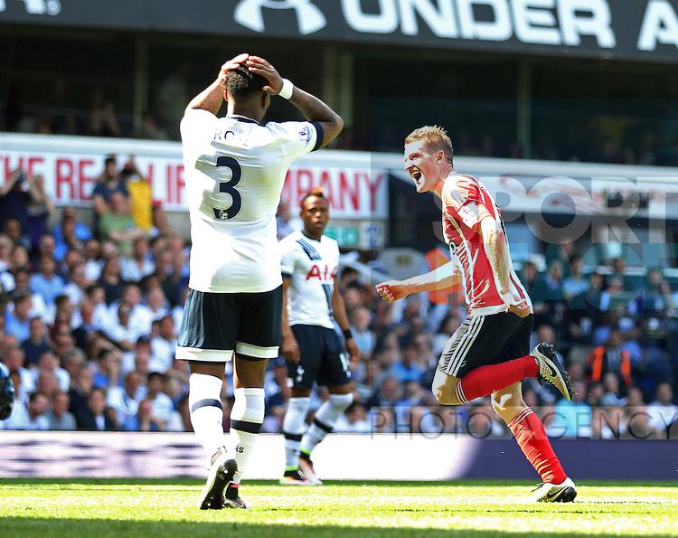 Southampton's Steven Davis celebrates scoring his sides second goal during the Barclays Premier League match at the White Hart Lane Stadium.  Photo credit should read: David Klein/Sportimage