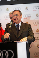 Real Madrid President Florentino Perez participates and receives new Audi during the presentation of Real Madrid's new cars made by Audi at the Jarama racetrack on November 8, 2012 in Madrid, Spain.(ALTERPHOTOS/Harry S. Stamper) .<br />