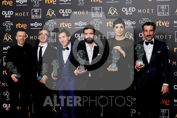 Antonio de la Torre, Rodrigo Sorogoyen, Isabel Pena and Luiz Zahera (Goya Awards winner for 'El Reino') attends to 33rd Goya Awards at Fibes - Conference and Exhibition  in Seville, Spain. February 03, 2019. (ALTERPHOTOS/A. Perez Meca)