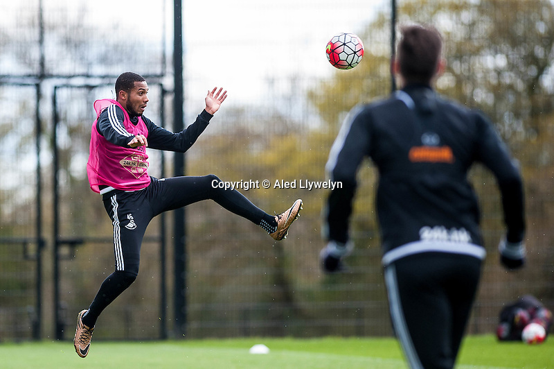 Wednesday  27 April 2016<br /> <br /> Pictured: Kenji Gorre of Swansea City  in action during training <br /> Re: Swansea City Training Session at the Fairwood Ground, Swansea, Wales, UK