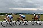 The 3 man breakaway featuring Damiano Cima (ITA) Nippo-Vini Fantini-Faizane, Nico Denz (GER) AG2R la Mondiale and Mirco Maestri (ITA) Bardiani CSF in action during Stage 18 of the 2019 Giro d'Italia, running 222km from Valdaora-Olang to Santa Maria di Sala, Italy. 30th May 2019<br /> Picture: Fabio Ferrari/LaPresse | Cyclefile<br /> <br /> All photos usage must carry mandatory copyright credit (© Cyclefile | Fabio Ferrari/LaPresse)