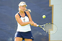 18 March 2012:  FIU's Giulietta Boha returns the ball during her doubles match against Columbia's Nicole Bartnik and Lani Alecsiu as the Columbia Lions defeated the FIU Golden Panthers, 5-2, at University Park in Miami, Florida.