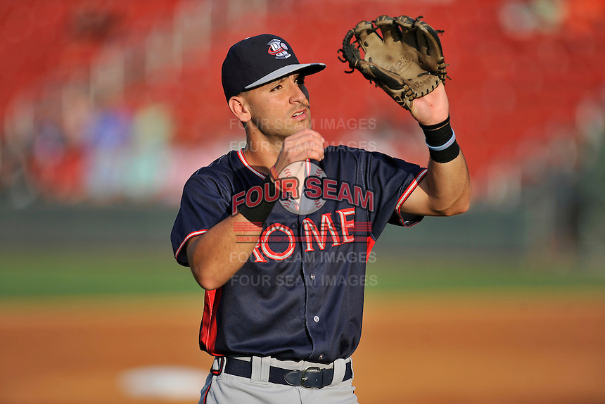 Second baseman Alejandro Salazar (7) of the Rome Braves warms up before a game against the Greenville Drive on Tuesday, August 30, 2016, at Fluor Field at the West End in Greenville, South Carolina. Greenville won, 7-3. (Tom Priddy/Four Seam Images)