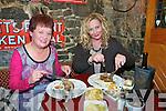 Staek Night : Enjoying their stakes  at the Horseshoe Bar Steak Special  during The Listowel Food Fair on Friday night were Mary Ahern, Duagh and Angela Barran, Kilmorna, Listowel