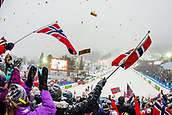 9th February 2019, ARE, Sweden; Aksel Lund Svindal of Norway celebrates with fans after competing and taking silver in mens downhill during the FIS Alpine World Ski Championships on February 9, 2019 in Are.