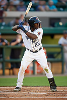 Lakeland Flying Tigers Daz Cameron (25) at bat during a game against the Tampa Tarpons on April 5, 2018 at Publix Field at Joker Marchant Stadium in Lakeland, Florida.  Tampa defeated Lakeland 4-2.  (Mike Janes/Four Seam Images)