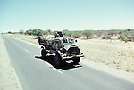 A Caspir vehicle returning from  operations in Angola<br /> against SWAPO  during the build up to the south African Elections. Nambia, Africa.