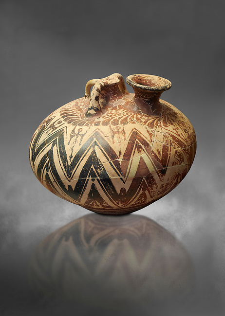 Mycenaean three handled styrrup jar with painted zig zag  and double axesdesigns, Tholos tomb 2 , Myrsinochori, Messenia, 15th cent BC. National Archaeological Museum Athens. Cat No 8376. Grey art Background