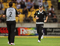 Dan Vettori runs over to congratulate Ian Butler on taking a wicket during 2nd Twenty20 cricket match match between New Zealand Black Caps and West Indies at Westpac Stadium, Wellington, New Zealand on Friday, 27 February 2009. Photo: Dave Lintott / lintottphoto.co.nz