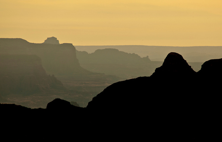 Silhouette of rock formations and canyons on the Kaiparowits Plateau in the Grand Staircase-Escalante National Monument, Utah, USA
