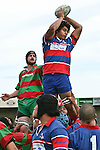 Tau Mata'afa claims lineout ball. Counties Manukau Premier rugby game between Waiuku & Ardmore Marist played at Waiuku on Saturday May 10th 2008..Ardmore Marist won 27 - 6 after leading 10 - 6 at halftime.
