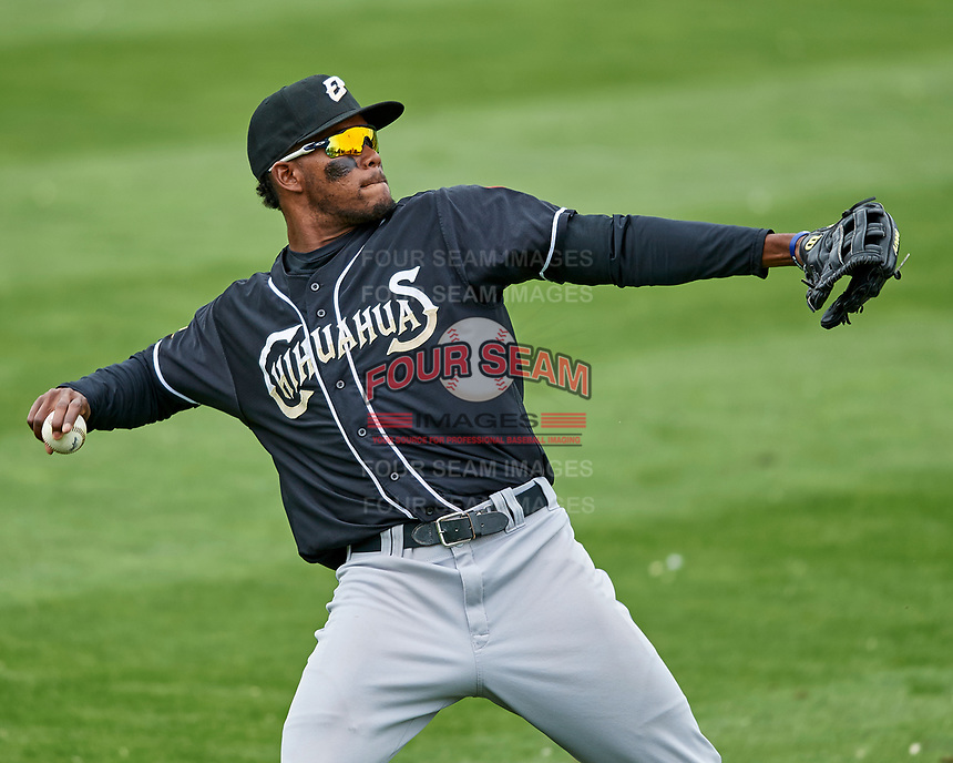 Franchy Cordero (10) of the El Paso Chihuahuas during the game against the Salt Lake Bees in Pacific Coast League action at Smith's Ballpark on April 30, 2017 in Salt Lake City, Utah. El Paso defeated Salt Lake 3-0. This was Game 1 of a double-header.  (Stephen Smith/Four Seam Images)