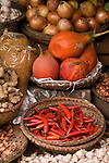 Gac Fruit 02 - Baskets of gac fruit, chilli, onions, shallots, ginger and garlic at a market in the Hanoi Old Quarter, Viet Nam