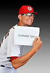 25 February 2011: Washington Nationals' pitcher Tyler Clippard poses for his Photo Day portrait at Space Coast Stadium in Viera, Florida. Mandatory Credit: Ed Wolfstein Photo