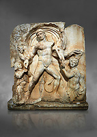 Roman Sebasteion rrelief  sculpture of Emperor Claudius as God of sea and land,  Aphrodisias Museum, Aphrodisias, Turkey.  Against a grey background.<br /> <br /> The Emperor as god Claudius strides forward in a divine epiphany, drapery billowing around his head. He receives a cornucopia with fruits of the earth from a figure emerging from the ground, anda ship's steering oar from a marine tritoness with fish legs. The idea is clear: the god-emperor guarantees the prosperity of land and sea. The relief is a remarkable local visualisation - elevated and panegyrical - of the emperor's role as a universal saviour and divine protector.